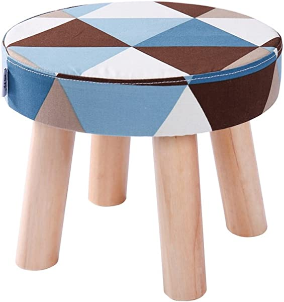 YAnFAn Stools Footstool Ottomans Premium Quality Comfort Fashion Solid Wood Shoes Stool 4 Legs Round Upholstered Footstool Sofa Low Stool Footrest Geometric Patterns For Home Commercial