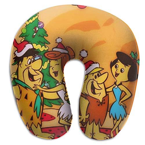 Almohada de viaje en forma de U Tv Show Flintstone Almohadas en forma de U Almohada de viaje portátil para el cuello, almohadas suaves para exteriores, transpirables, cómodas, almohadas de espuma vis
