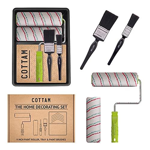 COTTAM PKI00085 Farbroller und Pinsel Set, Schwarz, 50 mm