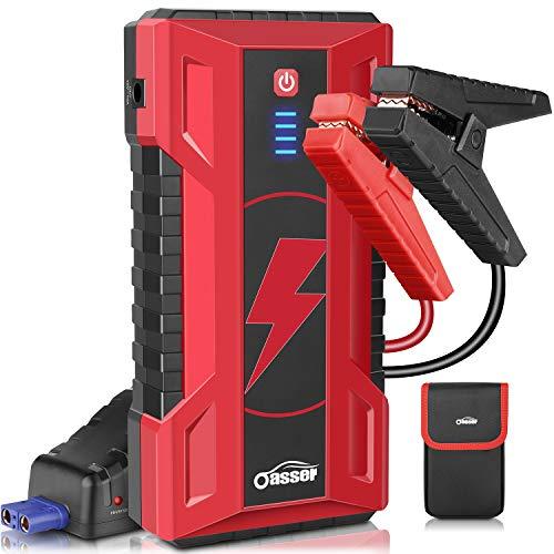 oasser Arrancador de Coche 15000mAh 1000A Jump Starter Carga del Ordenador Portatil 16V hasta 7L de Gasolina o 5L de Diesel con Carga Rápida QC3.0 Dual USB Luz de Emergencia LED J5
