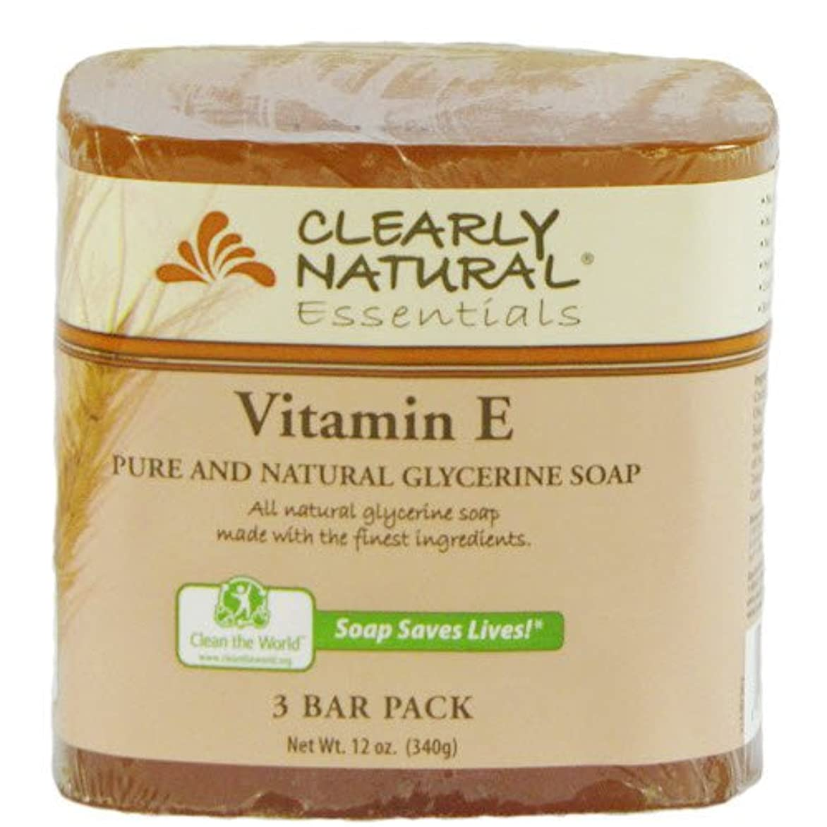 キルス石豆Clearly Natural, Pure and Natural Glycerine Soap, Vitamin E, 3 Bar Pack, 4 oz Each