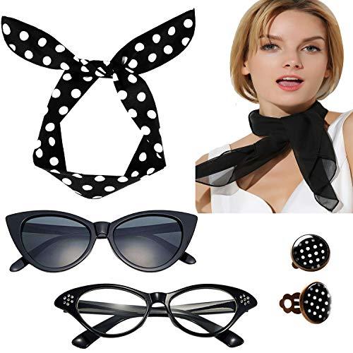 Seawhisper Rockabilly Accessoires Damen 50er Jahre Kostüme Frauen 1950er Jahre Zubehör Set Schwarz Halstuch Nickituch Katze Brille Ohrringe Haarband