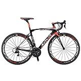 Vélos de Route Carbone, SAVA 700C Velo de Course Homme 22 Vitesses Shimano 105 5800 Group et Selle fizik Route (Noir&Rouge, 540)