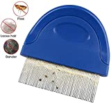 Pet Dog Cat Flea Comb, Pet Flea and Tick Prevention for Dogs, Stainless Steel Long Teeth with Plastic Handle for Removing Flea Egg, Mites, Ticks Dandruff Flakes, Crust, Mucus, and Stains