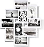 MAKITESY Marco de fotos collage para fotos de 15 x 10 cm, 10 aperturas para marcos de fotos de apertura múltiple para regalos de pared en casa oficina (blanco)