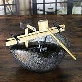 信楽焼 水流れ 湧き水つくばい 電動つくばい つくばい 陶器かけひ 蹲 循環式つくばい ウォーターオブジェ dt-0030