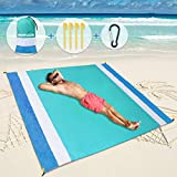 """SGODDE Beach Blanket Sand Free Beach Mat Oversized 79""""X83"""" Sandproof Waterproof Picnic Blankets with 4 Fastening Corners, Fast Drying, Portable Mat for Travel, Picnics, Camping, Hiking Light Blue"""