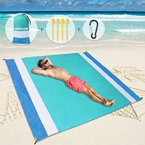 SGODDE Beach Blanket Sand Free Beach Mat Oversized 79'X83' Sandproof Waterproof Picnic Blankets with...