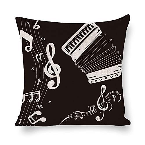 Funda de almohada de lino blanco con impresión de doble cara, color blanco y negro de acordeón de alegría música nota cuadrada para el dormitorio sofá con cremallera invisible, fundas de cojín estilo 1 46 x 45 cm