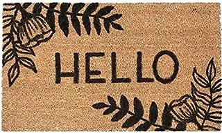 "Enlivening Accents Hello Printed Coco Coir Welcome Door Mat Flower Design 24"" x 36"" Brown Non Slip Heavy Duty Decorative Outdoor Front Entrance Indoor Entryway Floor Mat for Home Decor Housewarming"