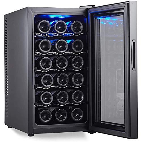 Enfriador de vino para 18 botellas encimera bodega refrigerador, pequeño independiente humedad constante refrigerador para vino, pantalla digital de temperatura puerta de vidrio, negro-Estantes