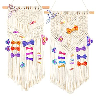 Amazon - 50% Off on 2 Pack Hanging Macrame Hair Bow Holder Tapestry- Boho Chic Woven Girls