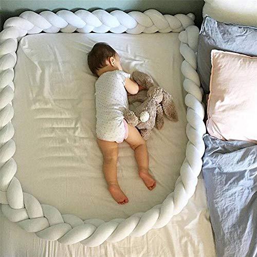 Gaeruite paracolpi Baby treccia cuscino per culle, letti a mano lungo nodo cuscino, culla paraurti trecce di serpente Pillow ,1/1.5/2m, White, 1 m