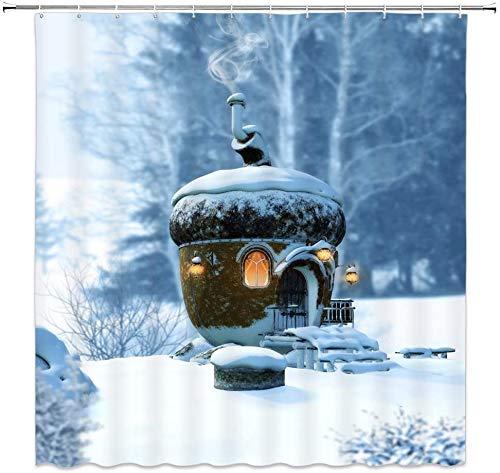 lovedomi Hiver Neige Fantaisie Forêt Conte Fées Cottage Champignon Maison Paysage Motif Rideau Douche Impression 3D Matériau Polyester Imperméable 72X72 Pouces 12 Crochet Salle Bains Maison