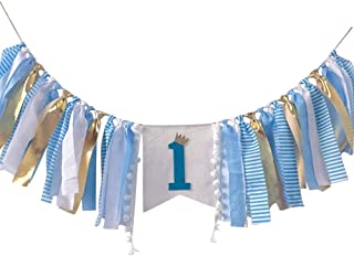 1st Birthday Party Supplies Decorations, Baby First Birthday Banner, Burlap Highchair Banner for Baby Boy