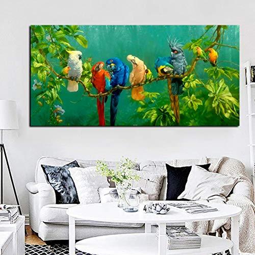 ZXFMT Leinwanddrucke Künstlerische Papagei Vogel Auf Zweigen Holz Landschaft Ölgemälde Auf Leinwand Poster Drucken Wandbild Für Wohnzimmer Dekor 60x150cm unframed
