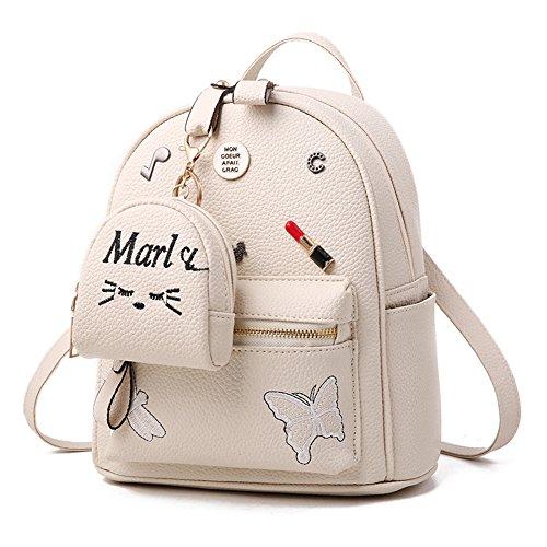 Flada niñas mochila PU cuero escuela bolsas mochila lindo Bookbag monedero con pequeño gato Monedero beige