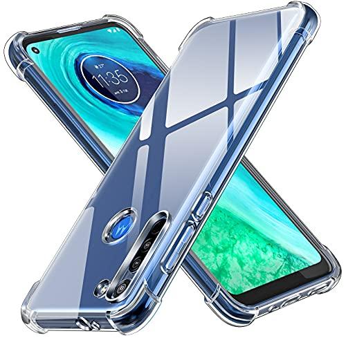 ivoler Funda para Motorola Moto G8, Carcasa Protectora Antigolpes Transparente con Cojín Esquina Parachoques, Flexible Suave TPU Silicona Caso Delgada Anti-Choques Case Cover