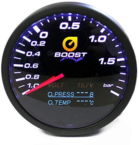 Preisvergleich Produktbild 4in1 Ladedruck Anzeige 60mm Öldruck Öltemperatur Volt Gauge Klarglas TT 1013081