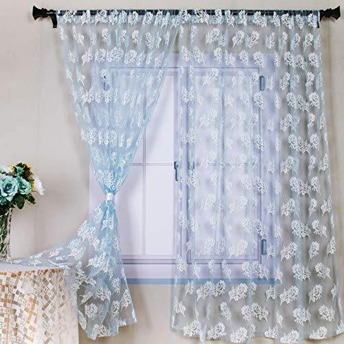 """Lace Curtain Panels Blue Lace Sheer Curtains 63InchLength Lace Embroidered Curtains Blue Sheer Voile Curtain Drape 58""""x63'' 2Panels Lace Window Curtain Rod for Bedroom Living Room Wedding Decoration"""