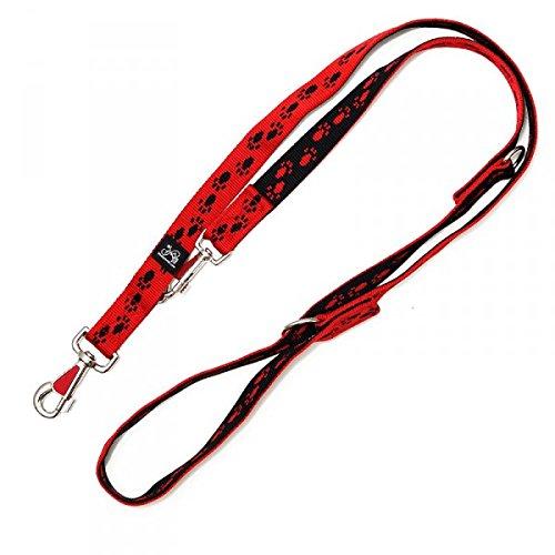 Nylonleine, Führleine rot mit schwarzen Pfötchen, 3-fach verstellbar 100-210 cm, 15 mm - passend zu den Feltmann Hundegeschirren