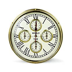 Nautical Brass World Times Clock With Five Mechanism Motors | Nautical Boat Ship Accessorial Clock | Nagina International