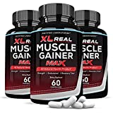 (3 Pack) XL Real Muscle Gainer Max 1600MG All Natural Advanced Men's Heath Formula 180 Capsules