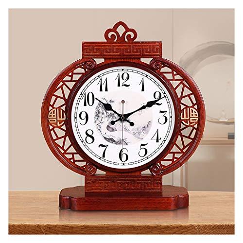ZGP % Reloj clásico Nuevo Chino Silencio Madera sólida Reloj de Mesa Sala de Mesa de la Moda del Reloj de una Cara de Reloj decoración del Dormitorio Sentado Reloj del Reloj de Cuarzo Casa