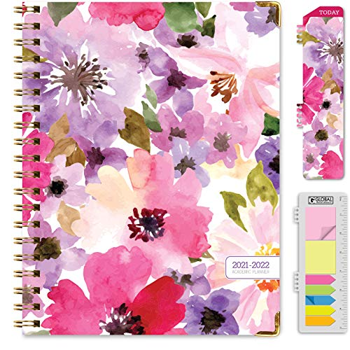 HARDCOVER Academic Year 2021-2022 Planner June 2021 Through July 2022 85x11 Daily Weekly Monthly Planner Yearly Agenda Bookmark Pocket Folder and Sticky Note Set Spring Floral