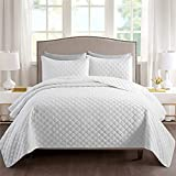 Ponvunory Quilt Set Twin Size(68'x86', White) - Super Soft Lightweight Microfiber Bedspreads, All Seasons Suitable Coverlet for Twin Bed - 2 Pieces(Includes 1 Quilt, 1 Sham)