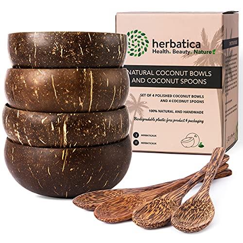 Herbatica 4 Bols Noix de Coco Avec Cuillères en Bois - Bols Coco Écologiques Faits à la Main pour Nouilles, Smoothies, Porridge (cuillère à noix de coco)