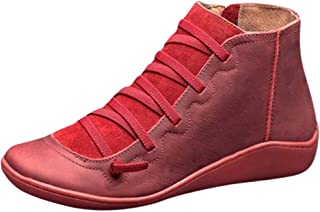 QueenMM 2019 New Arch Support Boots Womens Lightweight Leather Round Toe Slip-on Ankle Booties Winter Short Boots