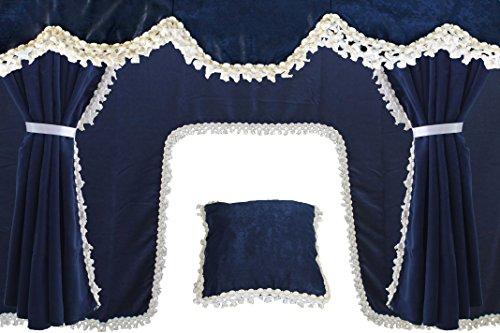 AutoCommerse Juego de 5 cortinas de satén con borlas blancas para parabrisas + 2 ventanas laterales + cojín + cortina túnel universal para camiones HGV Camión Azul