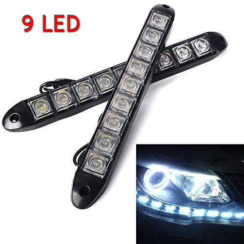2 Stückhellweiße LED-Auto-Tagfahrlichter mit 9 LEDs, wasserdicht, Nebel-Tagfahrlicht, 12V