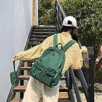 1つのソリッドカラーボウ大容量カジュアルダブルショルダーバッグバックパックスクールバッグ(ブラック)林2 Chenhuis (Color : Green)