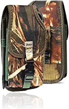 Military Grade Camo Cell Phone Belt Pouch, Compatible w/iPhone Xs Max XR iPhone 8 Plus,7 Plus,6S+ 6 Plus, OnePlus 6T Rugged Canvas Holster Waist Carrying Bag Fits Phone with Waterproof/Thick Case