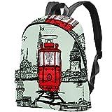 Istanbul Tram Graphic Design Sac Teens Student Bookbag Sacs à bandoulière légers Sac à Dos de Voyage Sacs à Dos Quotidiens