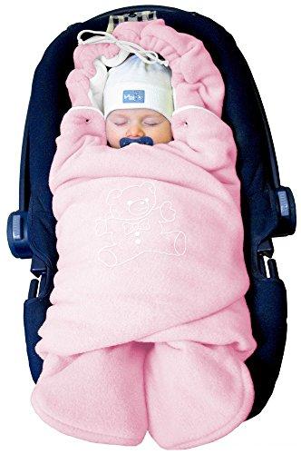 """ByBoom® - Baby Winter-Einschlagdecke\""""Das Original mit dem Bären\"""", Universal für Babyschale, Autositz, z.B. für Maxi-Cosi, Römer, für Kinderwagen, Buggy oder Babybett, Farbe:Rosa/Weiß"""