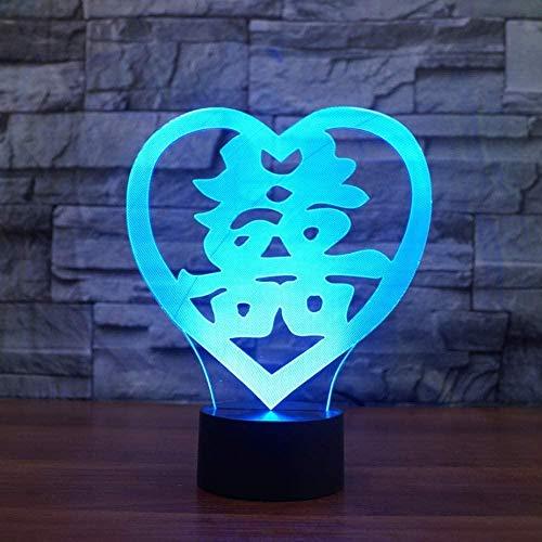USB-slaapslaapkamers 3D hartvormige LED Double Happiness NightLight 7 Verander de tafellamp in Chinese kleuren