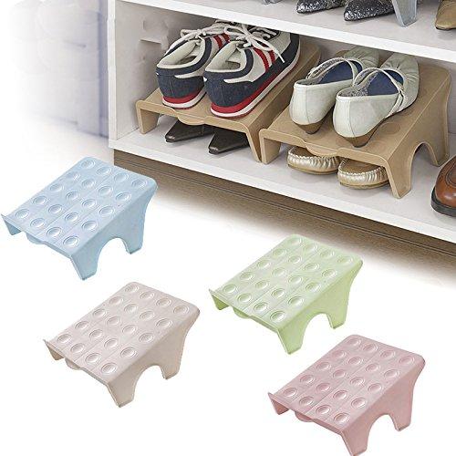 Ranuras para zapatos de doble capa, organizador para el hogar, estante para zapatos, ahorro de espacio, 5 unidades, para zapatillas deportivas, zapatos casuales, zapatos de tacón alto, color al azar