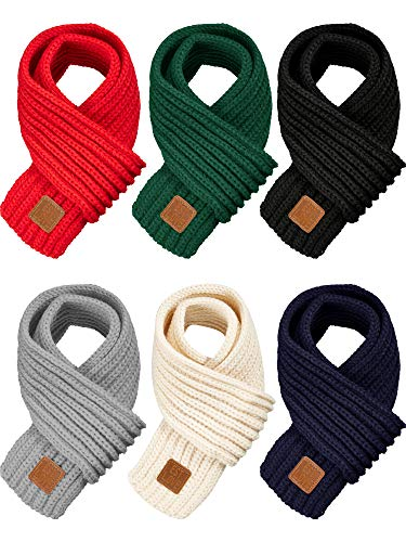 6 Pieces Kids Knitted Scarf Soli...