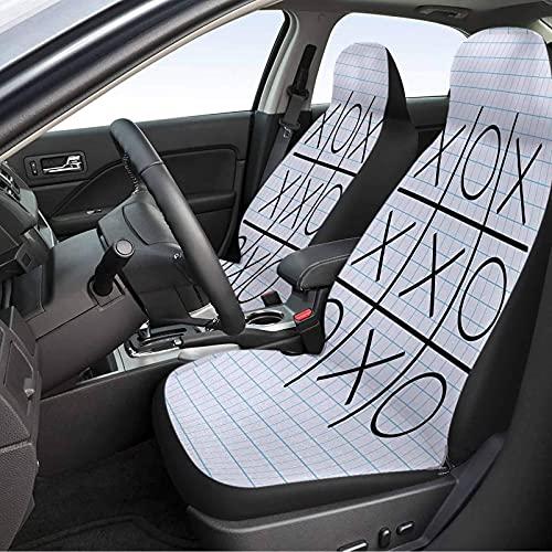 MIHPS-23S_F&F Xo Tic Tac Toe - Fundas de asiento de coche (2 unidades), diseño cuadrado a rayas, color azul pálido y negro