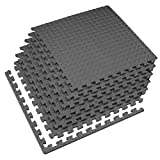 Velotas 1/2 Inch Interlocking EVA Foam Personal Fitness Mat, Diamond Plate Exercise Mats for Indoor Workout, 24 in x 24 in, Charcoal Gray, 100 Sq Ft (25 Tiles)