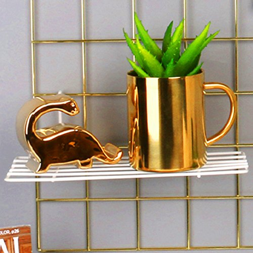 "SIMMER STONE Gold Wall Grid Panel for Photo Hanging Display & Wall Decoration Organizer, Multi-Functional Wall Storage Display Grid, 10 Clips & 4 Nails Offered, Set of 1, 17.7""x 25.6"""