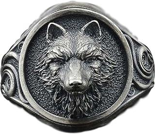 Men's Wolf Ring Slavic Wolf Head Ring Norse Viking Nordic Wolf Rings for Men Retro Wolf Totem Amulet Ring Vintage Animal W...