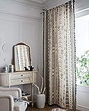 Cortinas bohemias traslúcidas de algodón con aspecto de lino con borla para salón o dormitorio, diseño geométrico opaco, 140 cm de ancho x 240 cm de alto, 1 unidad