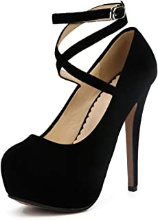 fereshte Women's Ankle Strap Platform High Heels Party Dress Pumps Shoes