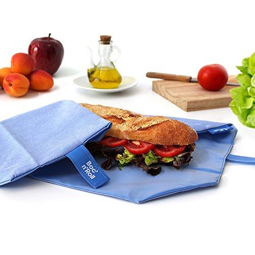 Roll'eat-Boc'n'Roll Eco - Stoffbrotdose | wiederverwendbarer ökologische Sandwichbeutel, BPA frei, verstellbare Sandwichverpackung, waschbar - Farbe Blau, 11x15cm (geschlossen), 54x32cm (offen)