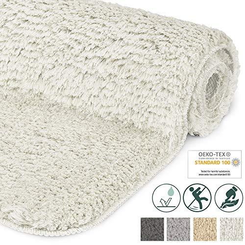 Beautissu Badematte rutschfest BeauMare FL Hochflor Teppich 80x50 cm Weiß - WC Badteppich Flauschige Bodenmatte oder Badvorleger für Dusche, Badewanne und Toilette - für Fußbodenheizung geeignet