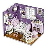 LEMOGO DIY Holzpuppen Haus Handwerk Miniatur Kit - Schlafzimmer Modell & alle Möbel -